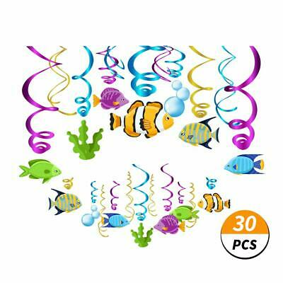 Kristin Paradise 30Ct Tropical Fish Hanging Swirl Decorations, Under The Sea Par