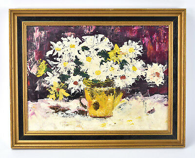 Vintage Mid-Century Modern Abstracted Floral Still Life Oil Painting