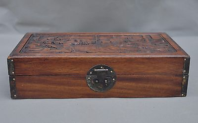 Collect Chinese Huanghuali Wood Hand carved the ancients pavilion Box boxs case