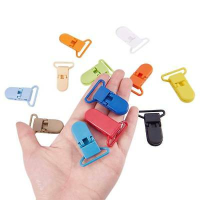 10pcs Colored Plastic Suspender Soother Pacifier Holder Dummy Clips For Baby Kid