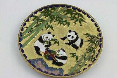 Antique Chinese Hand Painted Cloisonne Plate Pandas Playing, Bamboo scenes 10cm