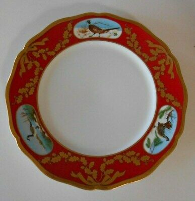 Lynn Chase Designs Winter Game Birds Dinner Plate Red Band Gold Trim 10 3/4""