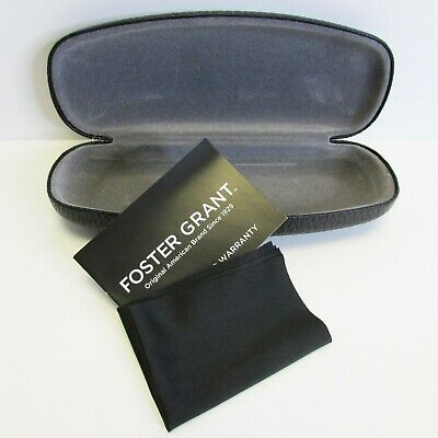 Foster Grant Clamshell Hard Eyeglass Case Black Pebbled Leather Look + Cloth