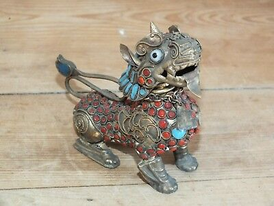 Antique Chinese filigree Coral and Turquoise Dragon or Foo Dog - Snuff Box