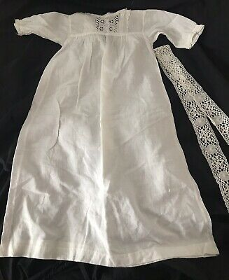 Antique Broderie Anglaise Cotton Christening Gown for Baby or Doll + Lace Trim
