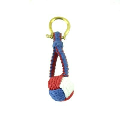Red White Blue Monkey Fist Keychain Marine Rope Knot Keyring Sailor Key Chain