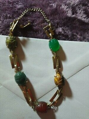 "Vintage Carved Egyptian Scarab beetle genuine Stone 7"" gold chain link bracelet."