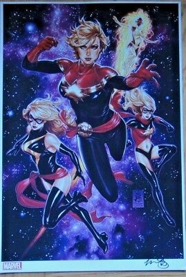 2019 Sdcc Mark Brooks Captain Marvel Ms. Carol Danvers Art Print Signed Poster