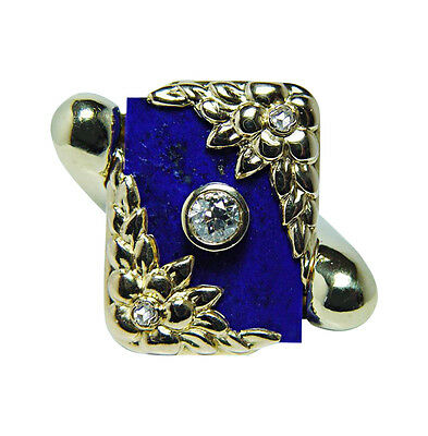 Art Nouveau Tiffany & Co Lapis European Diamond Ring 18K Gold Heavy