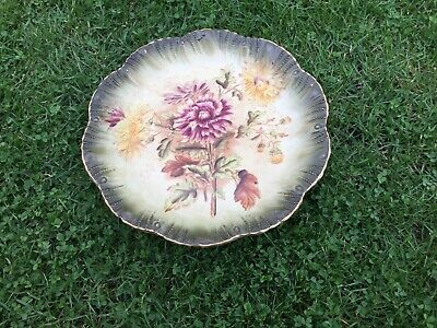 Antique Pottery Floral Plate Wall Display Picture Chintz Shabby Chic Very Pretty