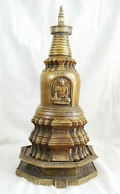 alter buddhistischer Stupa aus Bronze Messing Antik alt Sammlung