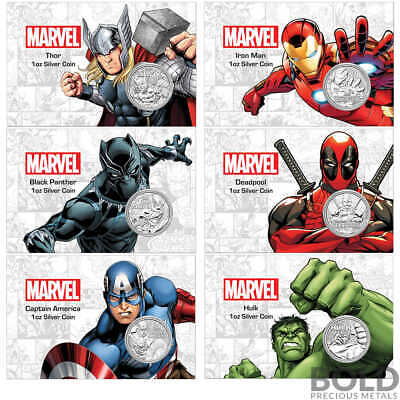 BOLD Set: Silver Tuvalu Marvel 6 Coin Set (In Card)