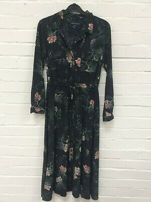 39 NEW  RRP £90 French Connection Striped Floral-Print Tee Dress