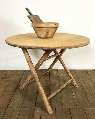 Antique French Farmhouse Rustic Folding Round Kitchen Table