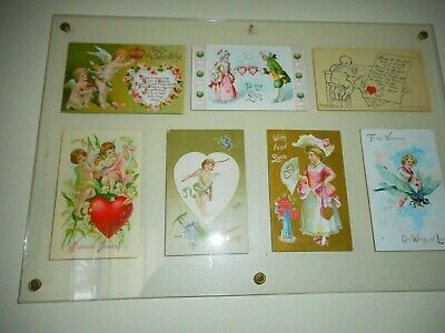 Lot 7 Vtg Antique Victorian Valentine's Day Post cards From The Early 1900's