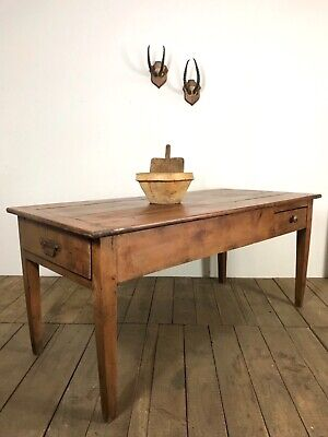 Antique French Cherrywood Kitchen Dining Table