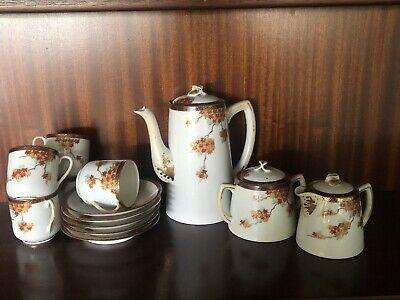 Beautiful vintage antique porcelain signed Japanese coffee set autumn leaves