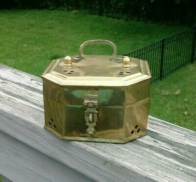 Vintage lacquered brass cricket box