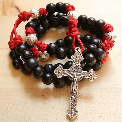 Rosary Red Paracord Wood Black Beads Wearable Pray Crucifix Catholic Necklace