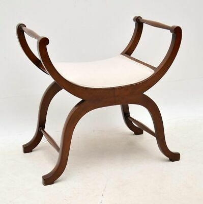 Antique Edwardian Mahogany Gondola Stool