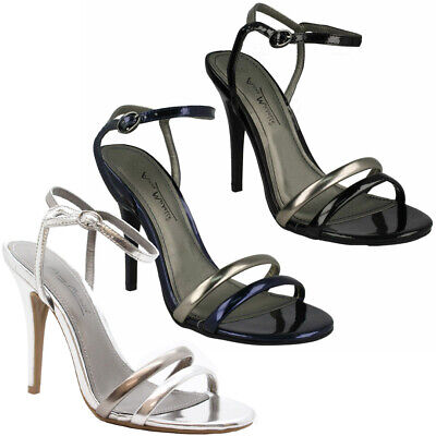 Womens Mid High Heel Peep Toe Ankle Strap Ladies Barely There Sandals Shoes Size