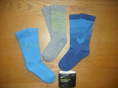 Toddler Boys NWT NIKE Socks Crew 3prs Red Navy Blue Swooshes Sz:2T-3T SO CUTE!
