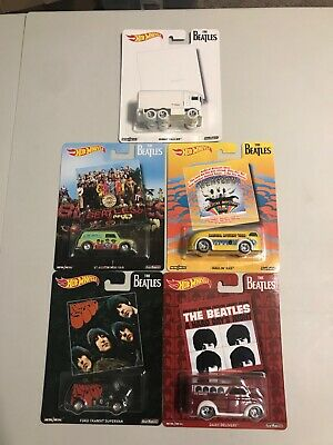 HOT WHEELS Premium Pop Culture THE BEATLES Complete Set Of 5 REAL RIDERS