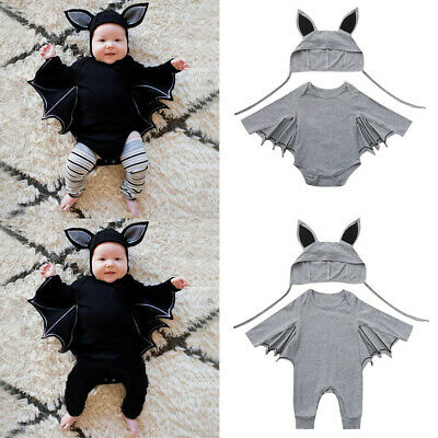 Toddler Baby Boys Girls Halloween Cosplay Bat Costume Romper Hat Outfits Set J