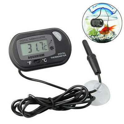 Digital LCD Thermometer Reptile Fish Tank Aquarium Water Temperature Meter Black