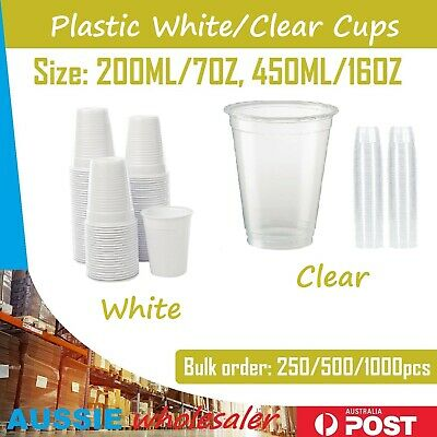 Disposable Plastic Cup 200ml 450ML Drinking Cups Wedding Party Birthday BULK