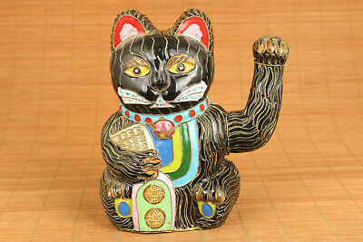 chinese big cloisonne hand painting cat statue figure collectable ornament