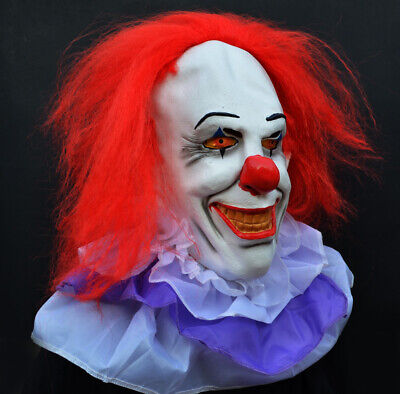 Halloween Killer Clown Costume Latex Mask - Stephen King's It Classic Pennywise