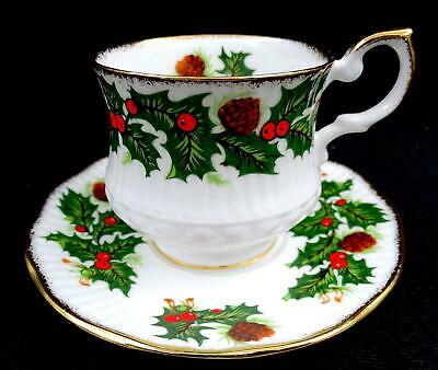 "Rosina Queens Yuletide Holly & Berries Gold Trim 2 1/2"" Cup & Saucer Set"