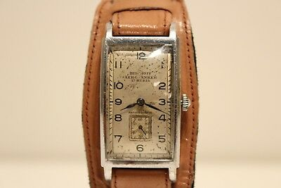 "Art Deco Rare Ww2 Military Rectangular Men's Swiss Watch ""Bischoff"" Aero-Anker"
