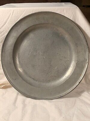 "Rare Early Antique 15"" Pewter Charger Richard King Gracious St. London Mid 1700s"