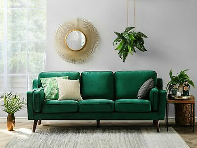 Luxury Modern 3 Seater Sofa Upholstered Velvet Light Green Lokka
