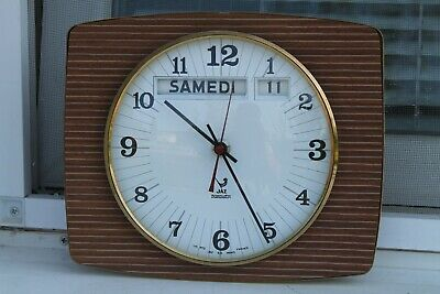 Antique Old French Made Clock JAZ Dekstop Electromechanical Day And Date