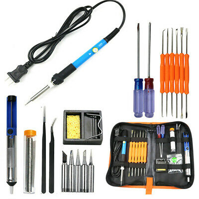 19in1 Soldering Iron Kit Electronics Welding Irons Tool Adjustable Temperature