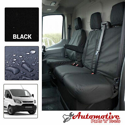Heavy Duty Black Tailored Seat Covers for Ford Transit Custom Soft Front Driver