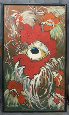 Old Vintage Expressionist Mid Century Modern Funky Chicken Rooster Oil Painting