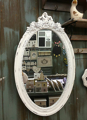 Antique Wood Wall Mirror 64 cm Dressing Room Mirror Floor Mirror Baroque White