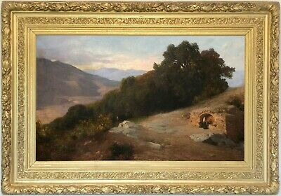 Mountain Landscape Antique Oil Painting by Alfred de Curzon (French, 1820-1895)