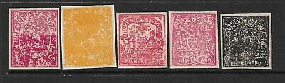Kishangarh 5 Values, Mint,Wove,Imperf Singles,Qv-Kgvi,India,Indian Native States