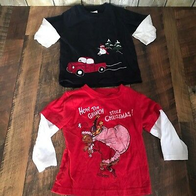 Lot of 2 Toddler Boys Christmas Shirts Dr Seuss Grinch Max Truck Gymboree 12-24