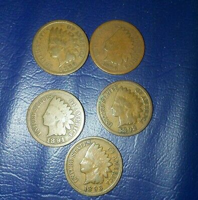 1889 1890 1891 1892 1893 Indian head cent