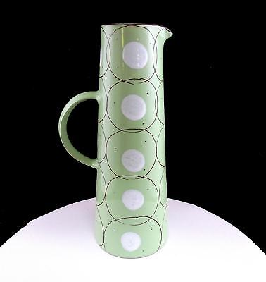 """Synergy Designs Hungary Art Pottery Green With White Dots 11 5/8"""" Pitcher"""