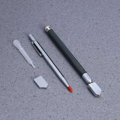 4X Metal Handle Glass Cutting Tool Cutting Engraving Pen Cutter Head Oil Dropper