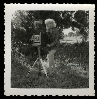 Bunny Yeager Revealing Pin-up Photograph Sepia Self Portrait Box Camera Pose NR!