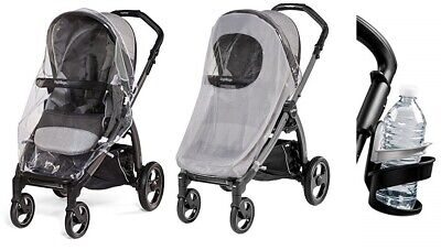 NEW Peg Perego Stroller Bundle (Rain Cover, Mosquito Netting, Cup Holder)
