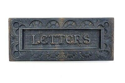 Antique Brass Hinged Letter Box Door Slot Plate Late Victorian Arts & Crafts